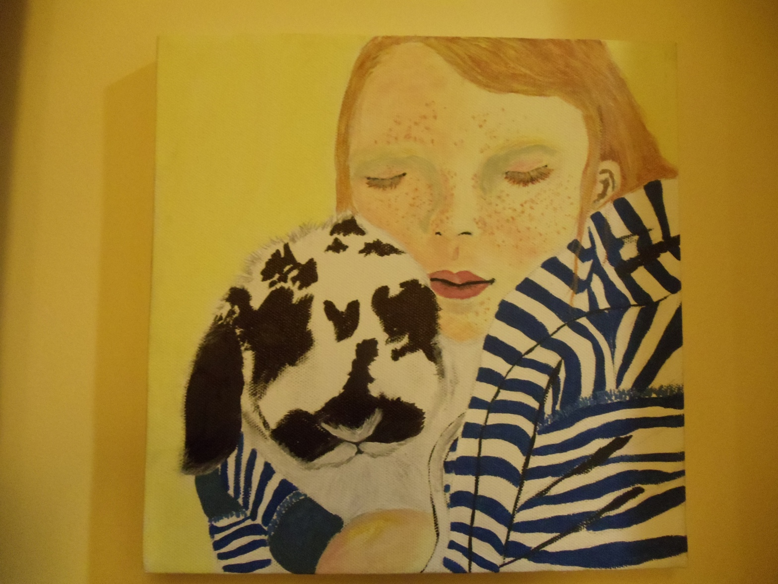 a painting of a girl and her bunny rabbit