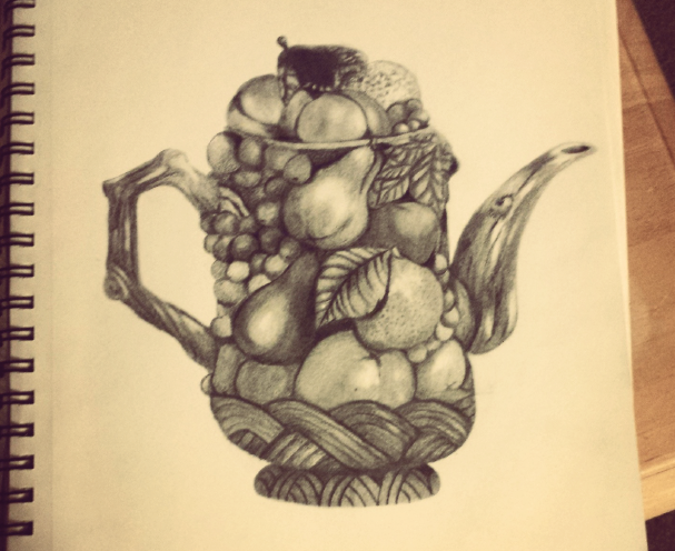 a sketch of a teapot