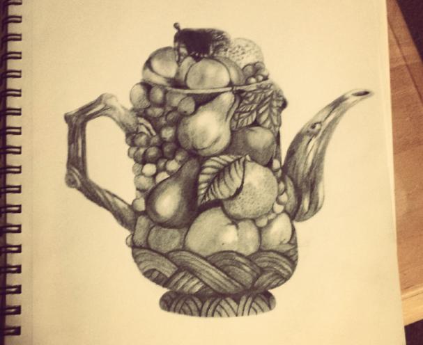 a sketch of a teapot