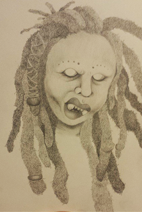menacing woman with dreadlocks