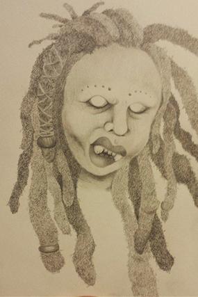 menacing woman with dreadlocks