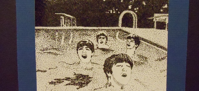 an ink drawing of the Beatles
