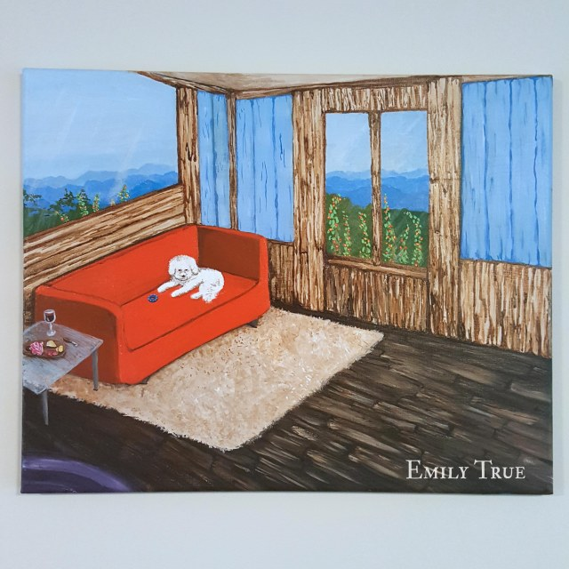 """Sofa"" by Emily True. Acrylic on canvas."