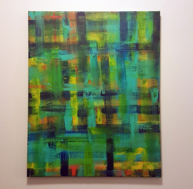 An abstract painting with blues, greens, and teal