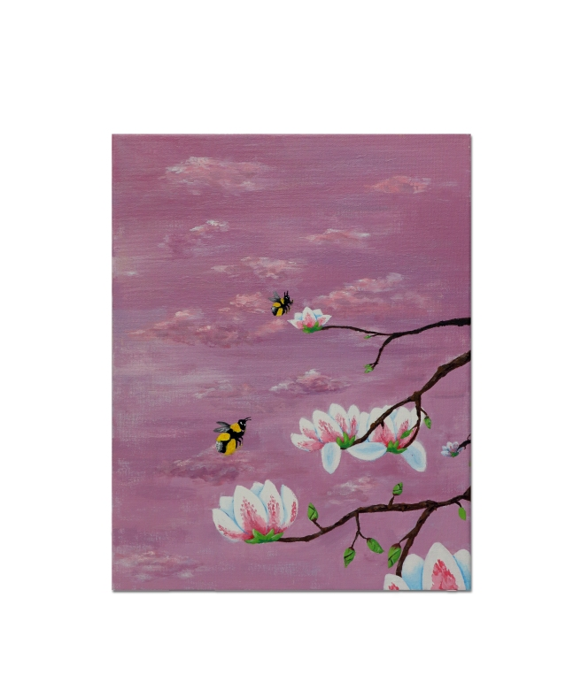 Painting of bees and flowers