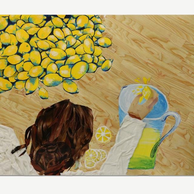 A collage of a girl making lemons into lemonade