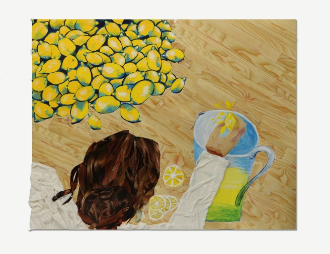 A collage of a girl making lemons into lemonade