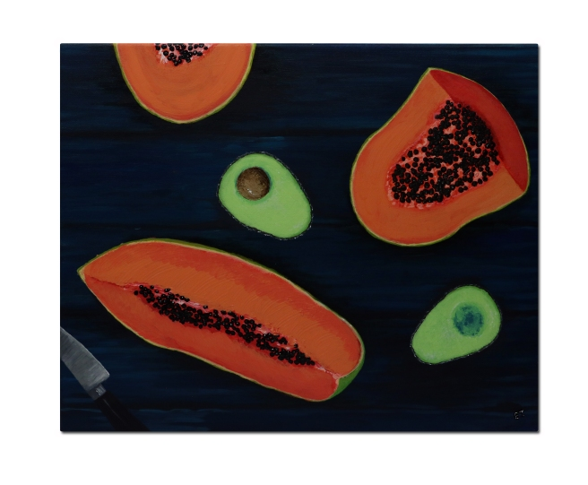 Painting of freshly cut papaya and avocado