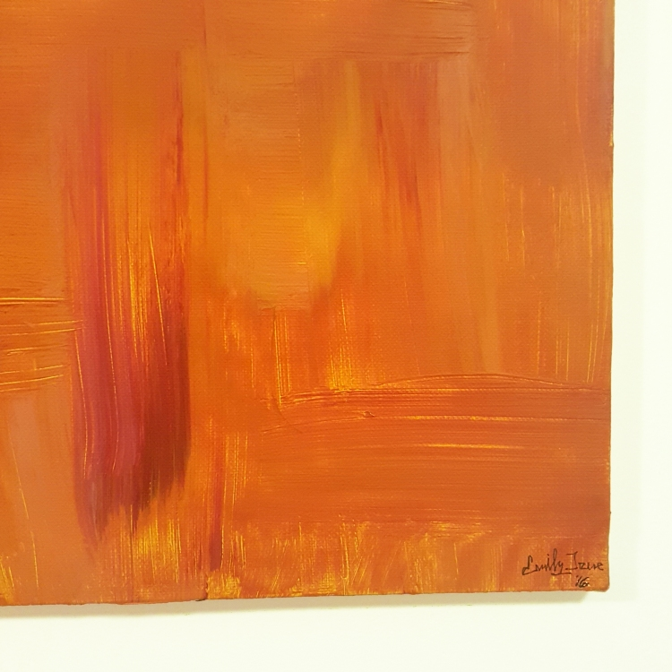 close up of abstract painting with signature